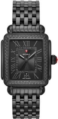 Michele 18mm Deco Madison Noir Diamond Watch