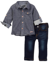 Hudson Stripe Jersey Button Down Top & Jean Set - 2-Piece Set (Baby Boys)
