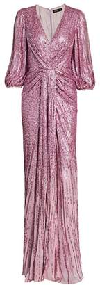 Jenny Packham Jacinta Split-Sleeve Knotted Sequin Gown