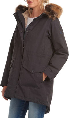 Barbour Swanage Hooded Raincoat with Faux-Fur Trim