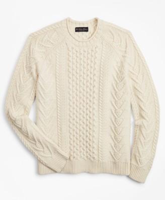 Brooks Brothers Merino Wool Fisherman Sweater