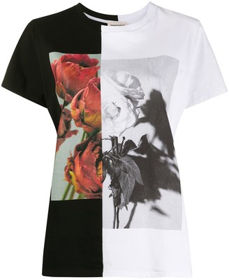 Alexander McQueen two-tone rose print T-shirt