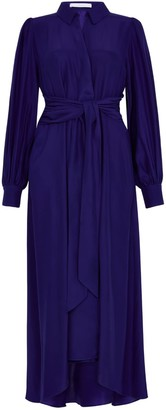Ethereal London Aria Plain Blue Midi Shirt Dress