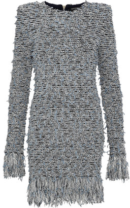 Balmain Fringed Boucle-knit Mini Dress