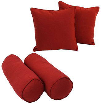 Blazing Needles Solid Twill Throw Pillows with Inserts, Set of 4, Aqua Blue, Ruby Red