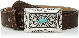 Ariat Women's Scroll Embossed Silver Turquoise Buckle Belt