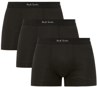 Paul Smith Pack Of Three Cotton-blend Boxer-briefs - Mens - Black