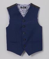 Van Heusen Dark Blue Wool Blend Vest - Boys