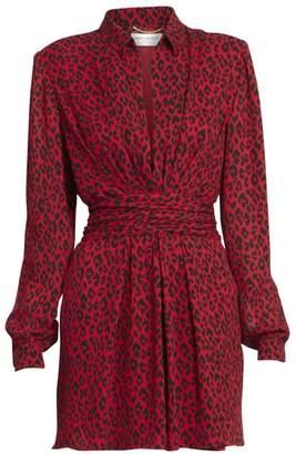 Saint Laurent Leopard-Print V-Neck Collared Dress