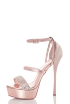 Quiz Rose Gold Multi Strap Shimmer Platform Sandals