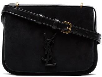 Saint Laurent Black Spontini small suede satchel