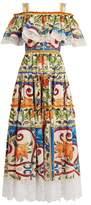 Dolce & Gabbana Majolica-print gathered cotton-blend dress