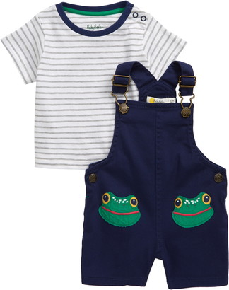 Boden Animal Patch Stripe T-Shirt & Short Overalls Set
