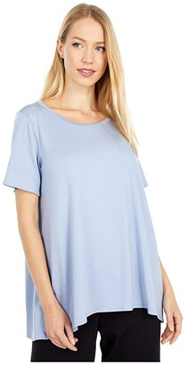 Eileen Fisher Jewel Neck Short Sleeve Top with High-Low Hem (Larkspur) Women's Clothing