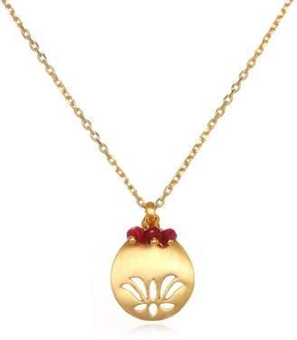 "Satya Jewelry July Ruby Lotus Adjustable Birthstone Pendant Necklace 18"""