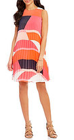 Vince Camuto Geometric Pleated Chiffon Dress