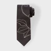 Paul Smith Men's Black 'Floral Outline' Narrow Silk Tie