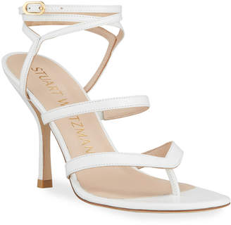 Stuart Weitzman Julina Strappy Stiletto Thong Sandals