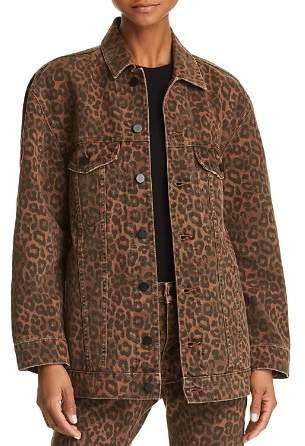 Alexander Wang Daze Oversize Denim Jacket in Tan Leopard
