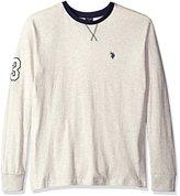 U.S. Polo Assn. Men's Long Sleeve V-Inset Crew Neck Knit Shirt