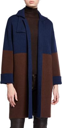 Akris Cashmere Two-Tone 3/4-Sleeve Kimono Jacket