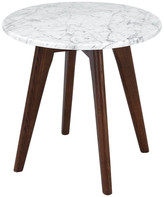 Poly and Bark Riley Marble Round Side Table, Walnut