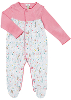 John Lewis Striped Animal Sleepsuit, Pink/White