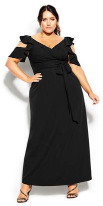 City Chic Frill Treasure Maxi Dress - black