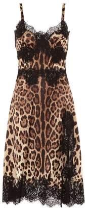 Dolce & Gabbana Lace-trimmed silk-blend dress