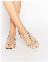 Dune Blush Suede Two Part Sandal With Gems