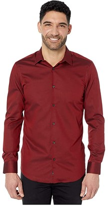 Perry Ellis Slim Fit Solid Dobby Resist Spill Shirt (Red Dahlia) Men's Clothing