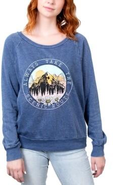 Rebellious One Juniors' Always Take The Scenic Route Graphic Sweatshirt
