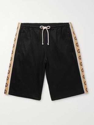 Gucci Wide-Leg Logo-Jacquard Webbing-Trimmed Tech-Jersey Drawstring Shorts
