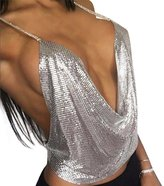 Cocobla Women Sexy V-neck Halter Backless Chain Sequined Tank Vest Tops