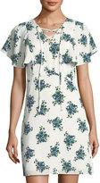 Kensie Floral-Print Lace-Up Flounce-Sleeve Mini Dress