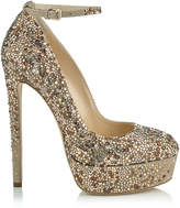 Jimmy Choo KLERISE 150 Nude Suede Platform Pumps with Hotfixed Crystals