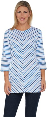 Denim & Co. Petite 3/4 Sleeve Striped Round Neck Tunic