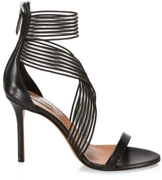 Alaia Criss-Cross Ankle-Strap Leather Sandals