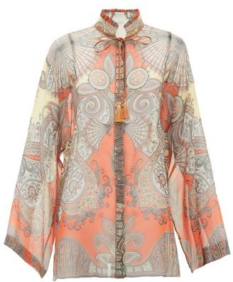 Etro Girasole Tie-neck Printed Silk-chiffon Blouse - Womens - Orange Multi