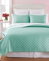 Martha Stewart Collection CLOSEOUT! Collection Basket Stitch Twin Quilt (Aqua)