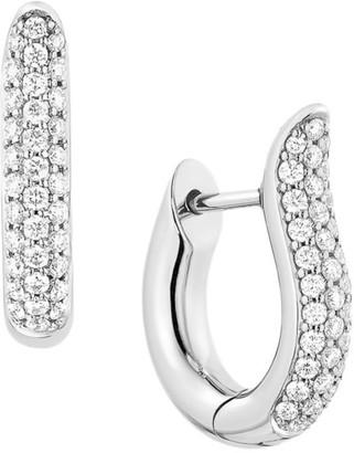 Tamara Comolli 18K White Gold & Diamond Pave Small Hoop Earrings