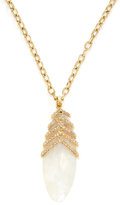 Maiyet 18K Yellow Gold, Moonstone & 1.36 Total Ct. Diamond Ribcage Pendant Necklace