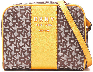 DKNY Logo-embellished Textured Leather-trimmed Jacquard Shoulder Bag