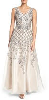 Adrianna Papell Women's V-Neck Organza Gown