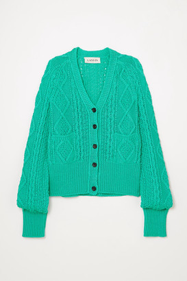 Lanvin Cable-knit Cotton Cardigan - Turquoise