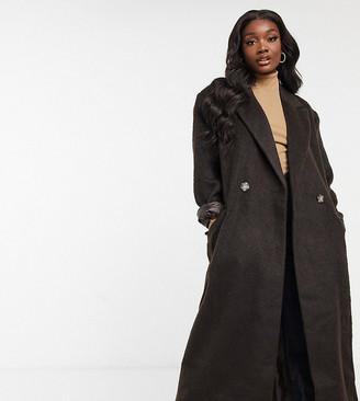 Asos Tall ASOS DESIGN Tall brushed dad maxi coat in brown