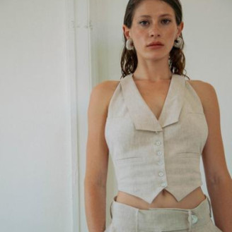 The Line By K The Bettina Vest In Flax Linen - XS