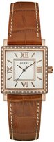 GUESS Tan and Rose Gold-Tone Square Watch