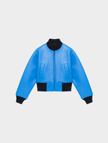 DKNY Cropped Lambskin Leather Bomber With Back Logo