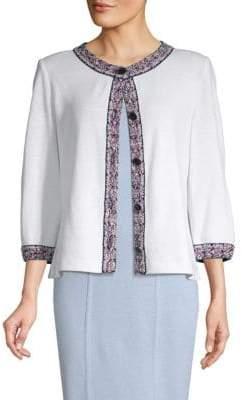 St. John Embroidery Knit Cardigan Sweater